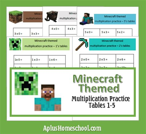 A+ Homeschool  Free Minecraft Themed Math Sheets  Homeschool  Pinterest Homeschool