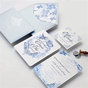 beautiful invitation with blue chinoiserie bird very With very fancy wedding invitations