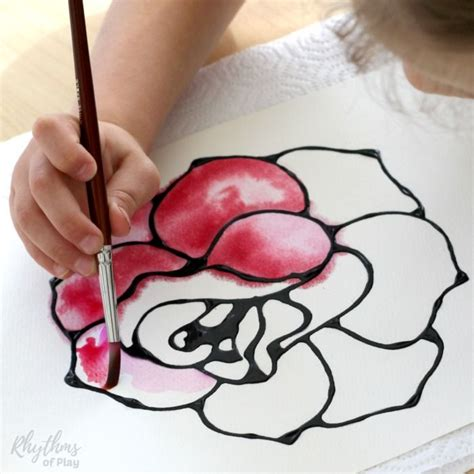 rose watercolor resist art project spring art projects