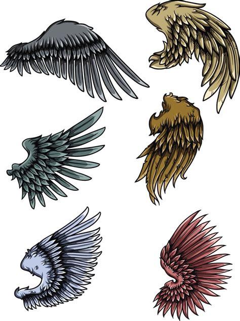 set  grunge wings vector