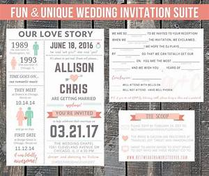 printable wedding invitation suite our love story With customizable funny wedding invitations