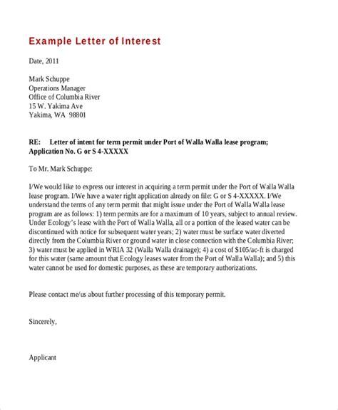 sample letter  interest forms