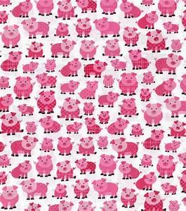 Novelty Cotton Fabric Patterned Pink Pigs Jo-Ann
