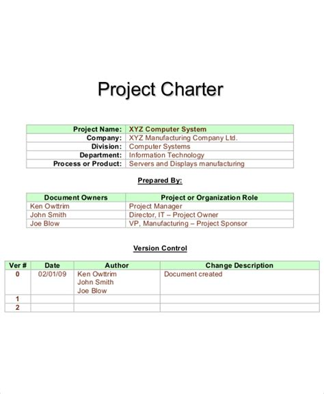 charter template 8 project charter templates free pdf word documents free premium templates