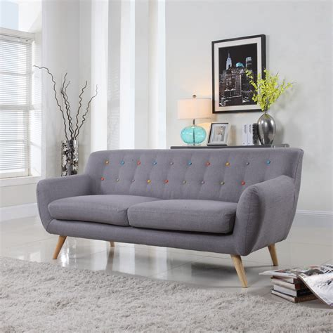mid century loveseat mid century grey sofa muli color tufted buttons modern
