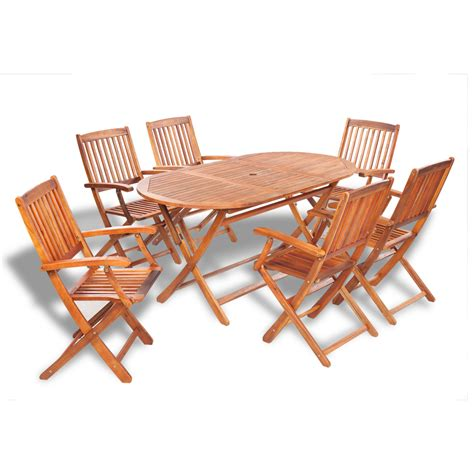vidaxl wooden outdoor dining set 6 chairs 1 oval table