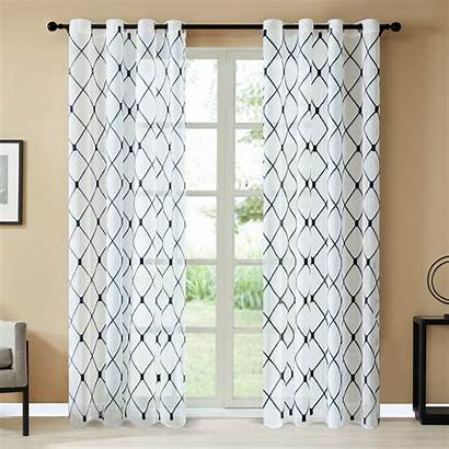 Curtains Navy Sheer Grommet Inches Bedroom Panels
