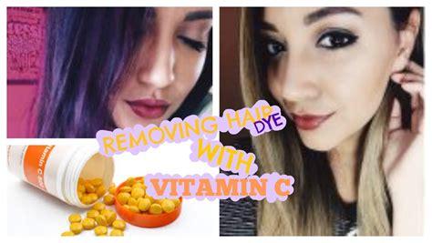 diy hair dye removal  vitamin  purple hair edition