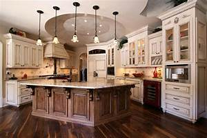 french country kitchens ideas in blue and white colors With kitchen cabinet trends 2018 combined with world map wood wall art