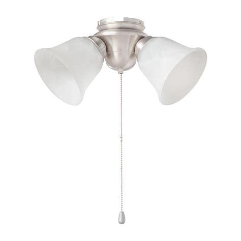 3 light ceiling fan light kit hton bay 3 light brushed nickel alabaster glass led