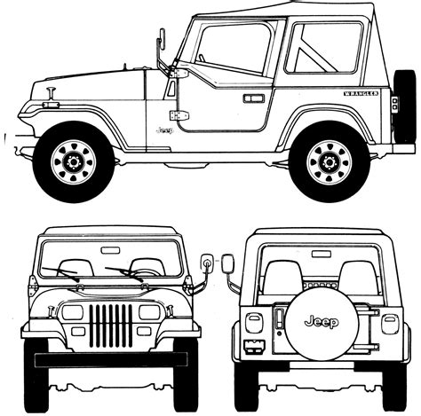 jeep front drawing jeep wrangler 1987 blueprint download free blueprint for