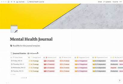 Template Health Journal Notion Mental Credits Views