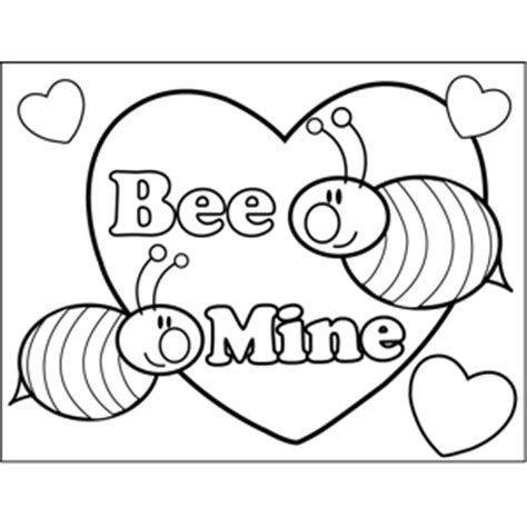 bee  valentine coloring page