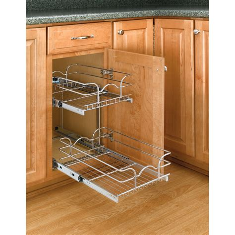 pull out inserts for kitchen cabinets shop rev a shelf 11 75 in w x 19 in h metal 2 tier cabinet