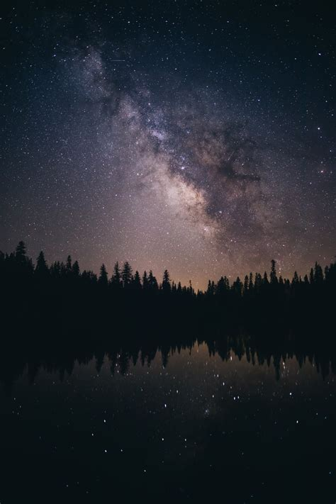 Photograph Of Milky Way Over Body Of Water Photo Free