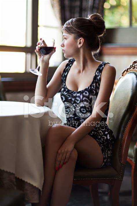Elegant Woman Drinking Wine Stock Photos Freeimagescom
