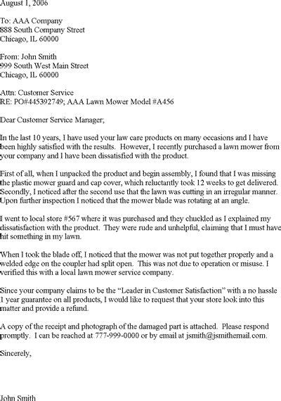 Sample Complaint Letter for Poor Customer Service.' Read