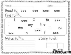 preschool sight words printables kindergarten sight word coloring pages