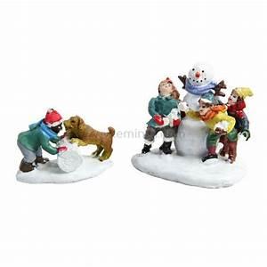 Personnage Pour Village De Noel : figurine enfant chien et bonhomme de neige village de noel eminza ~ Melissatoandfro.com Idées de Décoration