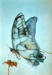 Blue Butterfly Watercolor Original Painting. Contemporary ...