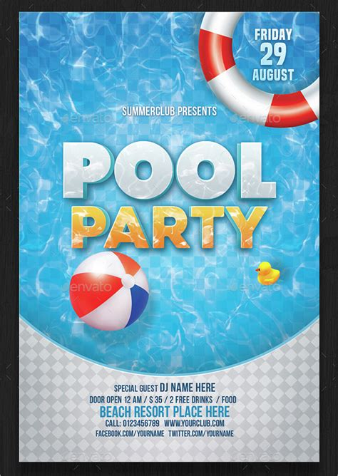 printable pool party invitations psd ai eps word