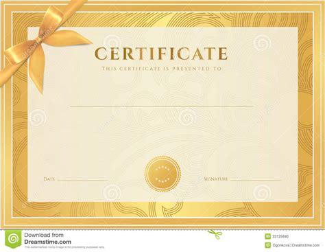 certificate diploma template gold award pattern stock