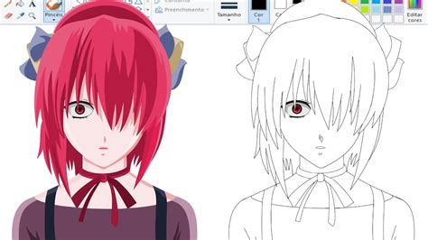Anime Elfen Lied Nyu Desenhando Anime No Paint Nyu Elfen Lied