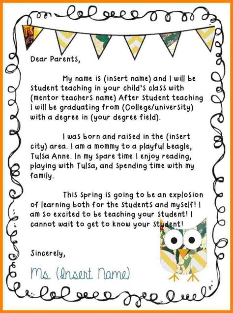 teacher introduction letter  parents sample