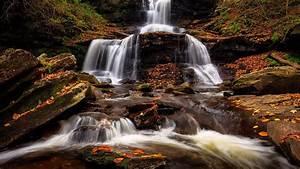 Waterfall, Between, Algae, Covered, Rock, Hd, Nature, Wallpapers