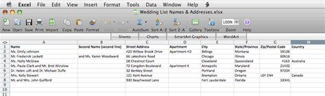 create  mailing list  excel bachcroft labels