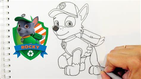 como desenhar  rocky da patrulha canina personagens