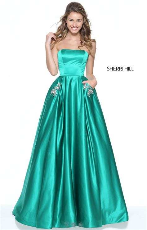 sherri hill  strapless satin ballgown  beaded