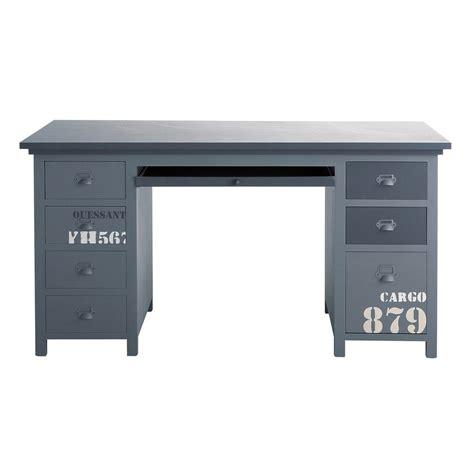 bureau gris bureau en bois gris l 150 cm cargo maisons du monde