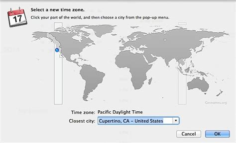 enable time zone support calendar app mac os