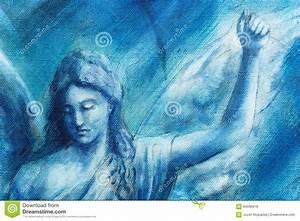 Segeltuch Mit ösen Auf Maß : geistige engelsmalerei auf segeltuch mit blauem abstraktem hintergrund stock abbildung bild ~ Orissabook.com Haus und Dekorationen