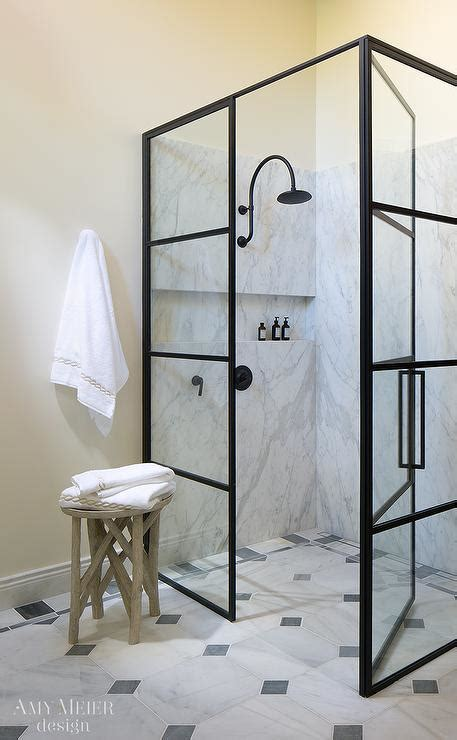 glass  steel shower enclosure  oil rubbed bronze