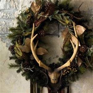 Shabby chic Christmas wreath with antlers christmas xmas