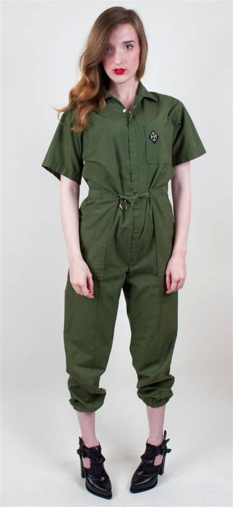 70s Military Jumpsuit Army Green Coveralls Romper Pantsuit ...