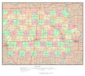 Detailed Map of Iowa with All Cities