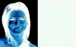 Optical illusion paints a brunette woman on a blank canvas ...