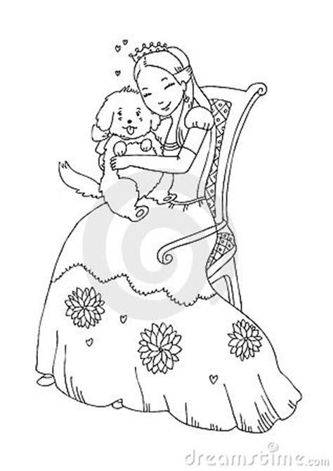 princess  dog coloring page royalty  stock photo