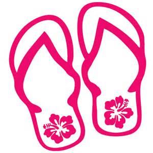 Flip Flops with Hibiscus Decal