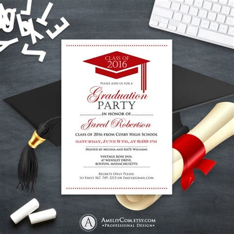 graduation announcement boy printable template red high school