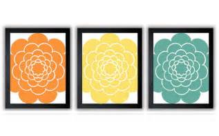 orange yellow teal flower bathroom decor bathroom print set of