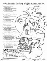 Poe Edgar Poems Coloring Allan Lee Annabel Pages Poet Poem Printable Tweetspeakpoetry Template Heart Sketch sketch template