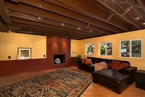 Unfinished ceiling in basement home design inspiration