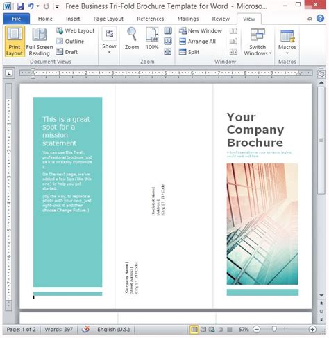 business tri fold brochure template  word