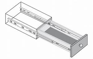 Ball Bearing Drawer Runners - Full Extension - Front Disconnect - 45kg Weight Limit