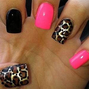 Leopard gold pink black nail design | Nail ♥ | Pinterest