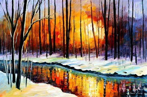 Winter Sun — Palette Knife Oil Painting On Canvas By